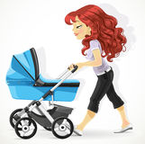 Cute mother with a blue pram on walk Royalty Free Stock Images