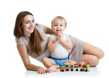 Cute mother and child boy play together Stock Images