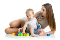 Cute mother and child boy play together Stock Image