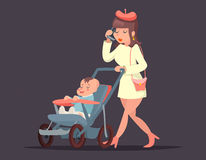 Cute mother with child. Isolated vector illustration. Royalty Free Stock Photos