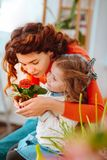 Cute mother and daughter smelling home flowers together. Flowers together. Cute mother and daughter smelling home flowers together after taking care of plants stock photo