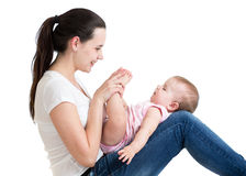 Cute mother having fun with baby Royalty Free Stock Photography