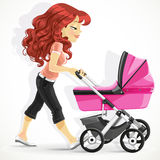 Cute mother with a pink pram on walk Royalty Free Stock Photos