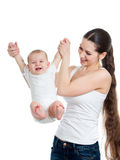 Cute mother playing with baby isolated Stock Photo