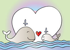 Cute mother whale and baby whale. Sketchy style Stock Image