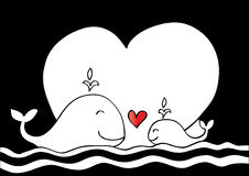 Cute mother whale and baby whale. Sketchy style Royalty Free Stock Image