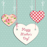 Cute Mothers Day card as three hearts on strings Stock Images