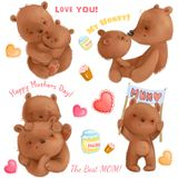 Cute mothers day isolated clipart with funny bears mom and her cubs, hearts, honey, cakes. It`s about love. Use for Stock Photos