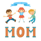 Cute mothers day postcard withkids jumping over a Stock Photography