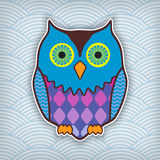 Cute motley owl. On a waved background vector illustration