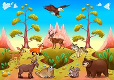 Cute mountain animals in the nature. Vector cartoon illustration stock illustration
