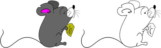 Cute Mouse. Cartoon illustration of a mouse eating a block of Swiss cheese Stock Images