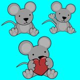 Cute mouse baby cartoon set Stock Photography