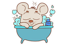 Cute Mouse bathing in the bath tub. Royalty Free Stock Image