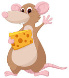 Cute mouse cartoon with cheese Royalty Free Stock Photo
