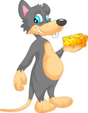 Cute mouse cartoon with cheese Royalty Free Stock Images