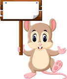 Cute mouse cartoon. Hanging wooden signboard Stock Images