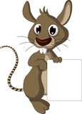 Cute mouse cartoon holding blank sign Stock Images