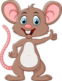 Cute mouse cartoon thumb up Royalty Free Stock Images