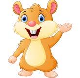 Cute mouse cartoon waving Stock Image