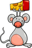 Cute mouse with cheese cartoon Royalty Free Stock Photos