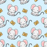 Cute mouse and cheese Seamless Pattern Background stock illustration