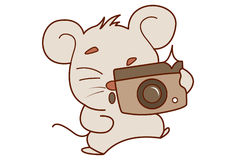 Cute Mouse clicking a photograph. Royalty Free Stock Photo