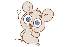 Cute mouse confused. royalty free illustration