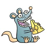 Cute mouse found a piece of cheese and happy. Vector illustration. royalty free stock photo