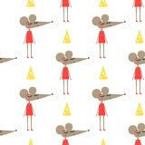 Cute mouse girl in dress with cheese seamless pattern on white background. Stock Images