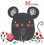 Cute mouse graphic cartoon for kid art royalty free illustration