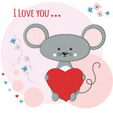 Cute mouse with heart Stock Images