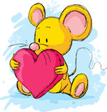 Cute mouse with heart pillow. Sketch illustration Stock Images