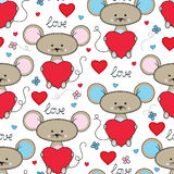 Cute mouse with heart seamless pattern Stock Photos