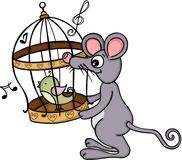 Cute mouse holding cage with singing bird Royalty Free Stock Photos