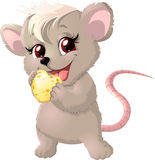 Cute mouse holding cheese Stock Photography
