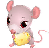 Cute mouse holding cheese Stock Photo
