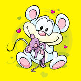 Cute mouse holding doll Stock Photos