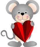 Cute mouse holding a heart Royalty Free Stock Photos