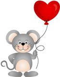 Cute mouse holding a heart shaped balloon Royalty Free Stock Photos