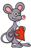 Cute mouse holding red heart. Scalable vectorial representing a cute mouse holding red heart, illustration isolated on white background Royalty Free Stock Photo