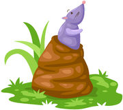 Cute mouse in the hole. Illustration of isolated cute mouse in the hole Royalty Free Stock Photos