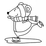 Ice skaters clipart black and white