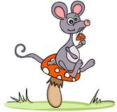 Cute mouse with mushroom Royalty Free Stock Photography