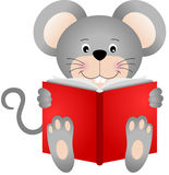 Cute mouse reading a book Royalty Free Stock Images