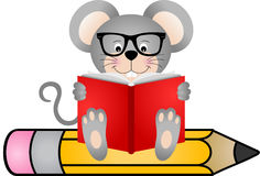Cute mouse reading book sitting on pencil Stock Image