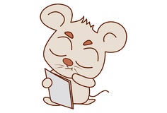 Cute mouse reading. Royalty Free Stock Images