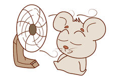 Cute Mouse relaxing in front of the fan. Stock Image