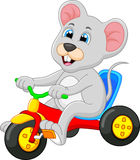 Cute mouse riding bicycle Royalty Free Stock Photography