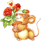 Cute mouse with rose. watercolor illustration Stock Photo